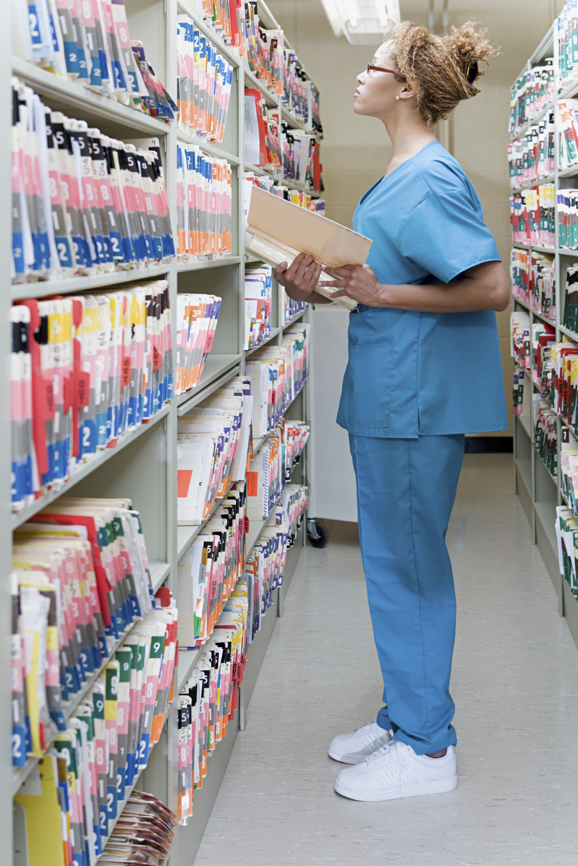 Hospital orderly in archives